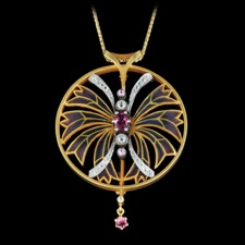 Nouveau Collection Pink sapphire and 18k gold pendant