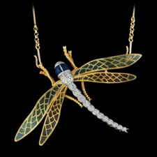 This gorgeous multicolored enamel 18kt yellow gold dragonfly necklace is set with 0.27ctw diamonds. The measurements for this piece are 43mm x 72mm. This Nouveau Collection piece is simply amazing!!