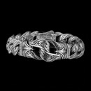Scott Kay's Guardian collection features this amazing rugged bracelet. Crafted in sterling silver, each link in this bracelet has elaborate engravings, which run along the entire bracelet. The bracelet measures 8.5'' and made in America.