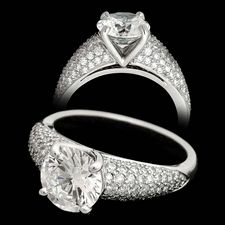 Michael Bondanza's Platinum Pave Astor for 2.0ct center diamonds.  This engagement ring is set with .63ct of diamonds.  Center diamond not included.