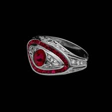This beautiful platinum ring features a round .76 ruby center stone enhanced by 1.05 cts. in channel-set rubies and .33cts. in melee diamonds.