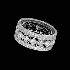 Beverley K 18kt white gold antique look wedding band.