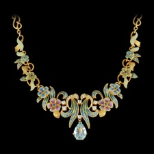 This absolutely stunning Nouveau Collection 18kt yellow gold necklace with multicolored enamel is sure to catch anyone's attention. Set with one large aquamarine and 0.60ctw diamonds. This piece is measured 65mm x 35mm.