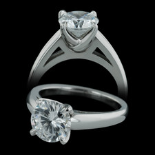 Michael Bondanza's Platinum Chelsea engagement ring with tulip setting.  This ring is really beautiful with 3mm tapered shank.  For 2.0ct center diamonds.  Center diamond not included.