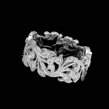 An exquisite 18kt white gold diamond floral band.  The band measures 8.5mm in width and is set with .40ct of diamonds.  See 59PP1 for this ring in yellow.
