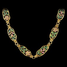 Nouveau Collection 18k gold floral necklace