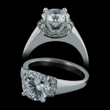 Michael Bondanza's Platinum pave Large Prospect for 2.0ct center diamonds.  Smaller versions available.  This engagement ring is set with .27ct of diamonds.  Center diamond not included.
