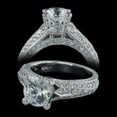 This elegant engagement ring from Spark is 18kt white gold. The ring is set with 0.79 carats of diamonds in three rows on each side of center. This ring can fit a 1 1/2ct stone with 4 prongs.  Center stone not included.