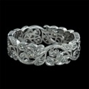 18kt white gold diamond floral Beverley K wedding band.  Along the leafs are fine crafted detail migrain design. The ring measures 5.5mm in width and is set with .35ctw in diamonds.