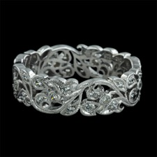 Beverley K 18kt white gold diamond floral wedding band