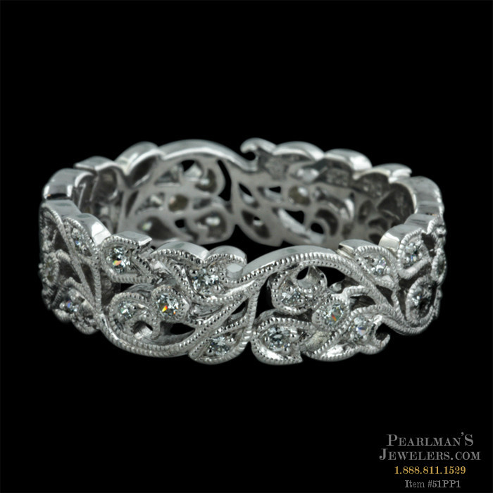 Floral Bands: Beverley K Jewelry 18kt White Gold Diamond Floral Wedding Band