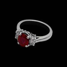 This beautiful platinum ring from the Pearlman's Collection features a stunning 2.13 center ruby flanked by .46cts. in diamonds.