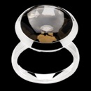 Item 53BA1 - A pretty and fun smokey quartz sterling silver ring from Bastin Inverun. This ring is a size 7.75. The head of the ring measures 19mm in diameter. The height of the ring, from your finger to the top of the smokey quartz , is 9mm. A great fashion ring that's not too flashy.