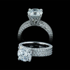 Michael B platinum 3 row flat engagement band with diamond prongs and 70% shank.  This is shown with a 2 1/2ct center diamond.  The ring contains 176 full cut diamonds weighing 1.13ct of diamonds. Center diamond not included.
