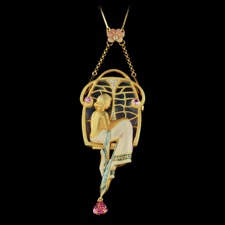 This beautiful Nouveau Collection 18kt yellow gold piece is set with multicolored enamel, one tourmaline and two pink saphires. There are also many beautiful diamonds set inside this piece equaling up to 0.08ct. The measurements of this piece are 75mm x 32mm. Chain sold separately.