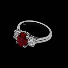 Exclusive from the Pearlman's Collection, this stunning platinum ring features a 2.01ct. ruby flanked by .62cts. in side diamonds.
