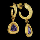 Beautiful pair of 24k gold and amethyst dangle earrings from Gurhan. These are set each with a 7mm triangle amethyst. These measure 31mm length x 13mm width.