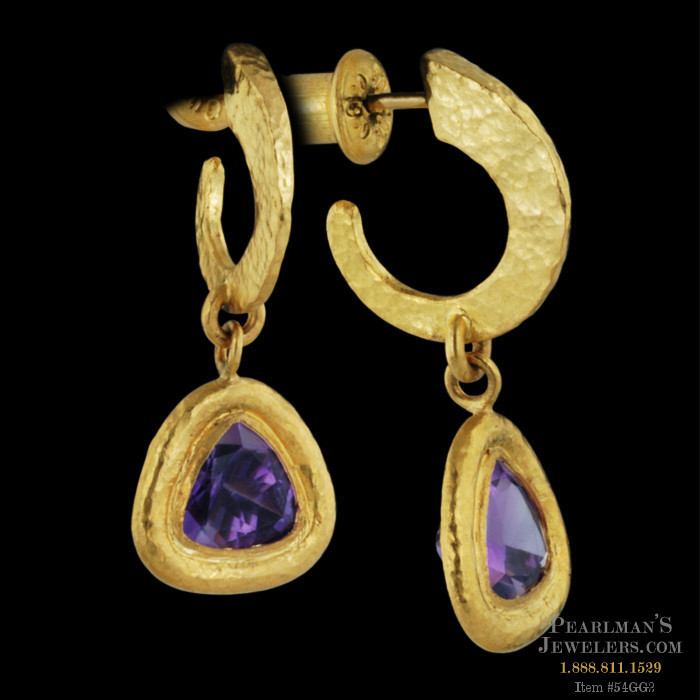 Gurhan Earrings 24 Karat Gold Amethyst