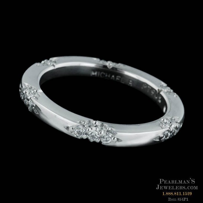 Michael b petite lace platinum diamond wedding band this for Michael b jewelry death