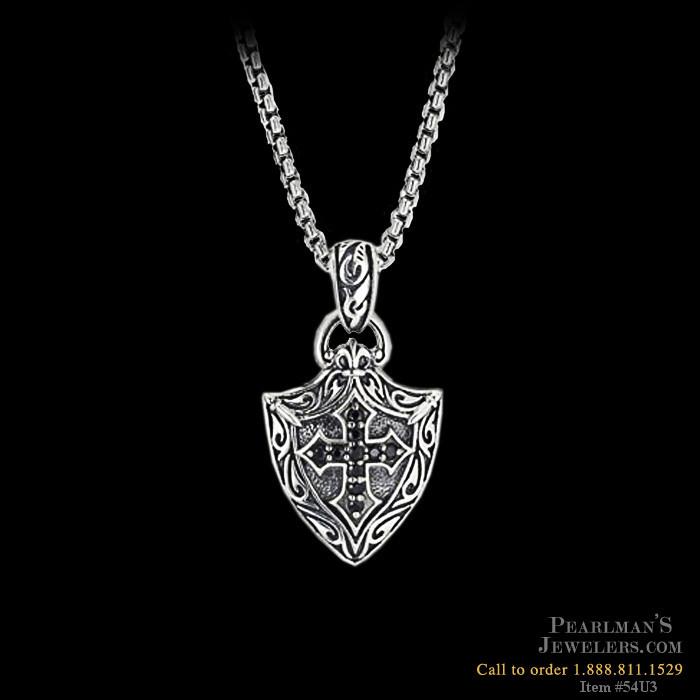 Scott Kay For Men Sterling Silver Engraved Cross Shield