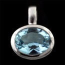 A sterling silver blue topaz pendant from German designer Bastian Inverun. The Pendant measures 10mm x 15mm. There are several styles of chains to choose from ranging in price from $93.00 on up.