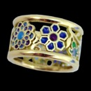 A pretty 18k yellow gold ring from the Nouveau Collection. The floral design of the ring is inspired by the art nouveau era. The colors throughout the ring are enamel.
