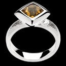 Item 56BA1 - From German designer Bastian Inverun. This stering silver orange and yellow brilliant citrine center gemstone ring.  The shank of the ring has an elegant hammered finish, while the center stone is set in a bezel of bright polished silver. Comes in a finger size of 7.25.