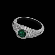 This gorgeous platinum ring from the Pearlman's Collection features a stunning .75 emerald and shimmers with .98cts. in diamonds.