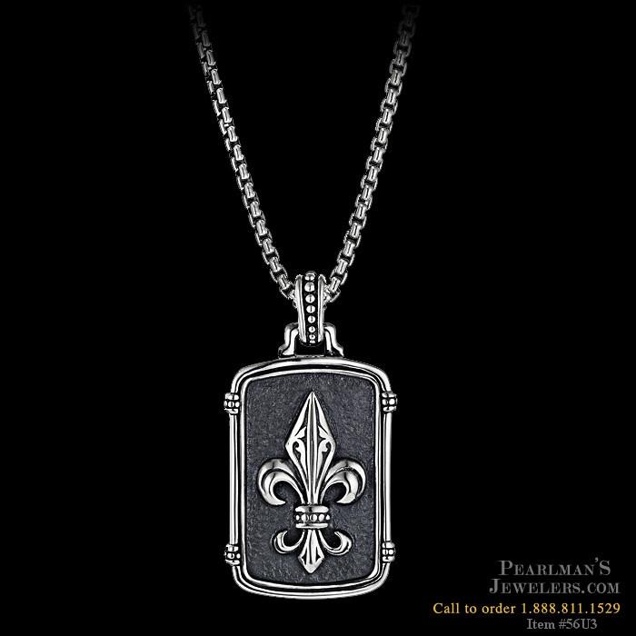 614951561 Scott Kay for Men Mens sterling silver fleur de lis