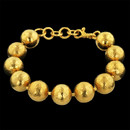 Presented by Gurhan, this gold ball Gall bracelet is handcrafted in 24kt gold. These balls are 14mm in diameter.  Beautiful piece!
