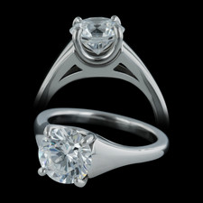 Michael Bondanza's platinum medium Sculptured Madison engagement ring with matching wedding band.