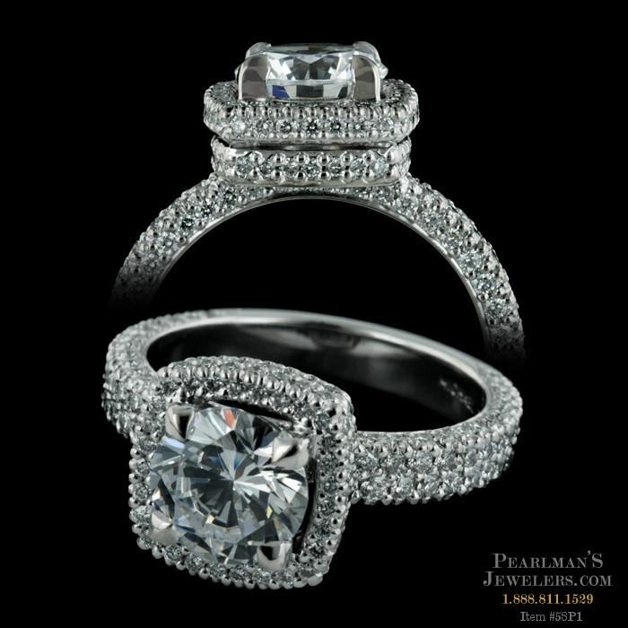 Michael B Jewelry Platinum Trios Cushion Engagement Ring