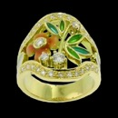 A true beauty! This ring is a art nouveau inspired design ring. Made of 18k yellow gold and orange/green enamel flower and leafs. The rings features 30 round diamonds with a total carat weight of 0.68tcw. The ring weighs 11 grams.