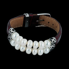 Discontinued Honora S Sterling Silver Double Row Pearl Bracelet With Dark Red Leather Band