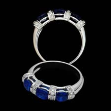 Exclusive from the Pearlman's Collection, this lovely 18K white gold ring features three round blue sapphires (1.32cts.) separated with .21cts. in striped diamonds.