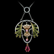 From Nouveau Collection this 18kt white gold pendant brooch features .07cts of diamond with two pink sapphires and a drop dangle set pink tourmaline. The size of the pendant is 56mm x 45mm. The piece is suspended from an enhancer chain, including a circle of diamonds.