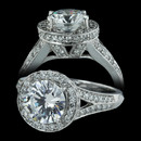 "This Spark engagement ring comes in 18 karat white gold and has 0.65 carats of diamonds. The ""V"" design gives it a distinctive look.(ALSO AVAILABLE IN PLATINUM) Center Stone not included."