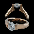 Kretchmer 18kt rose gold OR Omega engagement ring for a 1.0 to 1.50ct round.  Stunning color! This ring is also available for diamonds from 0.50 carats to 6.00 carats. Please call for pricing of diamonds other than 1.01 to 1.50 carats. The center diamond is not included in the pricing.