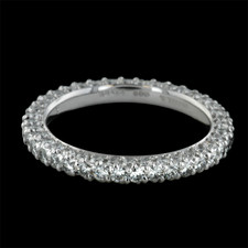This beautiful platinum diamond eternity wedding band is from Michael B's Petite Princess collection.  The ring is a three sided diamond band with 1.0ct. total weight in diamonds.