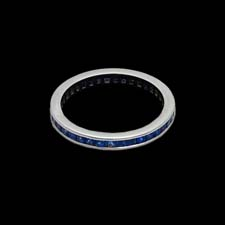 This sleek platinum band is ablaze with 1.40cts. in channel-set blue sapphires.