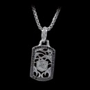 Scott Kay Sterling Sparta Silver Black Spinel Dog Tag Necklace. The dog tag features a variation of the Scott Kay logo in the center.