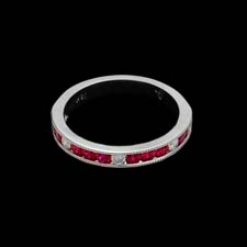 This classic 18K white gold band shines with .62cts. in channel-set rubies and .13cts. in diamonds. Lovely on its own or as part of a bridal set.