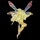 An 18k gold dancing fairy nymph. This pendant is from the Nouveau Collection and features multiple color enamel wings. The pendant measures 38mm by 25mm.