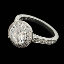 Beautiful platinum pave diamond engagement ring designed by Gumuchian. The piece is set with .75ct of diamonds and is great with a 2.0ct center diamond. Center diamond not included.