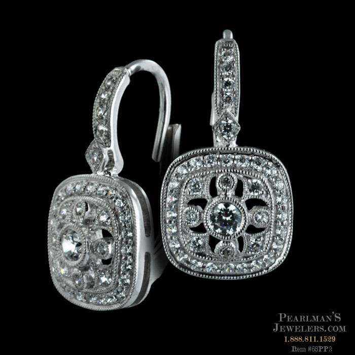 Beverley K 18kt White Gold Diamond Filigree Lever Back