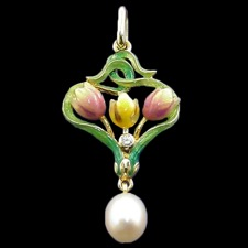 Nouveau Collection Three tulip pearl pendant