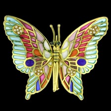 Nouveau Collection Butterfly color diamond brooch