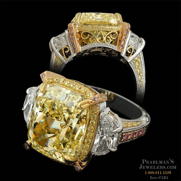 certified light cut canary yellow diamond cushion rings engagement ring fancy vvs