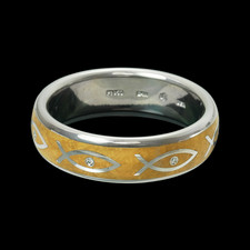 Beautiful one of a kind Fish symbol custom wedding ring by Kretchmer.  Intricate design showcases the fine craftsmanship and attention to detail Kretchmer provides.  Please call for pricing.