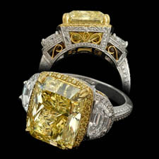 Michael Beaudry fancy yellow halo diamond ring
